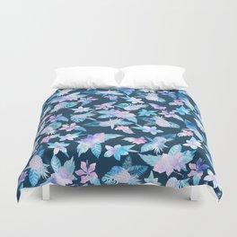 Tropical navy blue pink teal watercolor fruit floral Duvet Cover