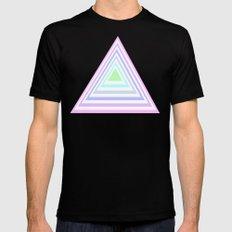 pastel rainbow triangles MEDIUM Mens Fitted Tee Black