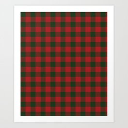 90's Buffalo Check Plaid in Christmas Red and Green Art Print