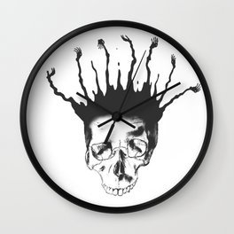 Skull with hands Wall Clock