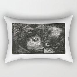 Orangutan Mother and Baby Scratchboard Rectangular Pillow