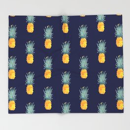 Pineapple Pattern Blue Throw Blanket