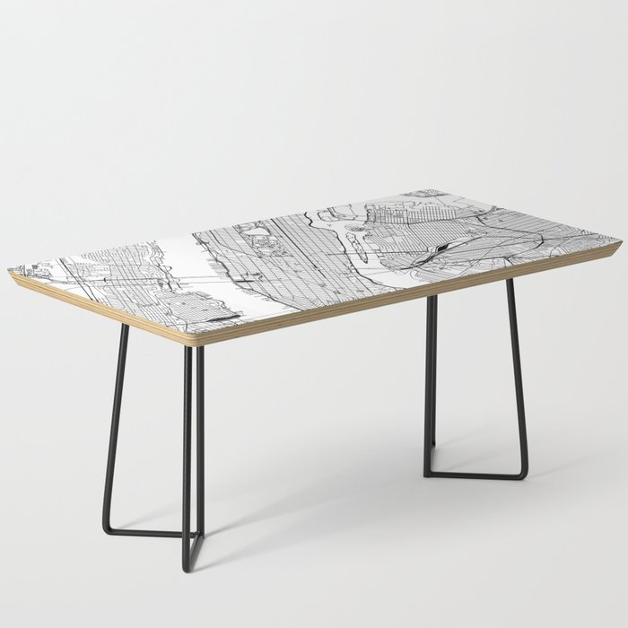 New York City White Map Coffee Table