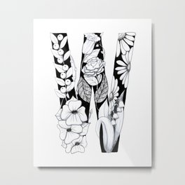 Floral Pen and Ink Letter W Metal Print