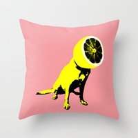 lemon Throw Pillows featuring lemon by Ali GULEC