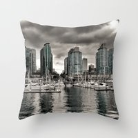 vancouver Throw Pillows featuring Vancouver Waterfront by Anthony M. Davis
