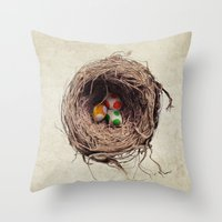 jazzberry Throw Pillows featuring Yoshi Eggs by Eric Fan