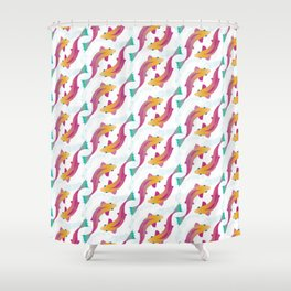 Wriggly Fish - Multicoloured Shower Curtain