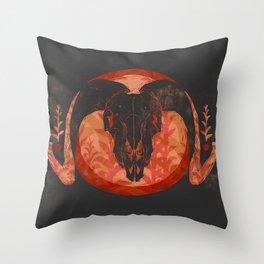 Ram Skull Throw Pillow