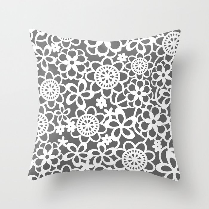 Filigree Floral Lace Throw Pillow
