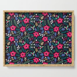 Seamless Floral Pattern Serving Tray
