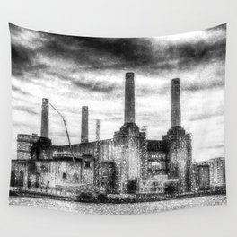 Battersea Power-Station London Snow Wall Tapestry