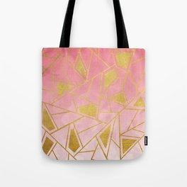 Geometric pink & gold pattern Tote Bag