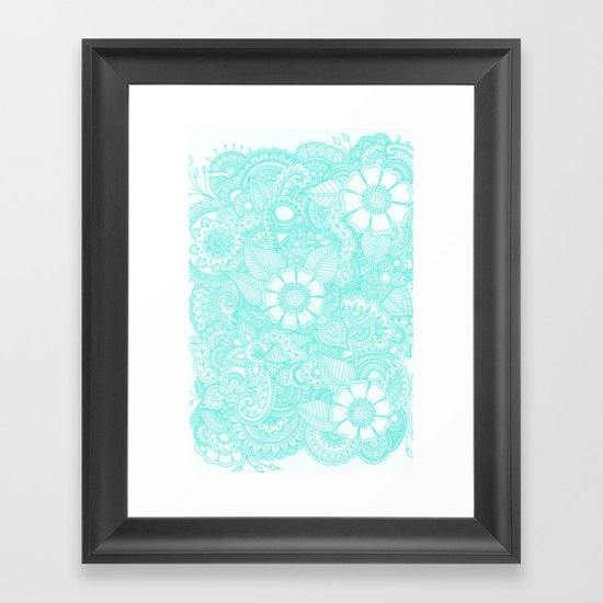 Henna Design - Aqua Framed Art Print