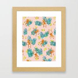 Tropical Monkey Banana Bonanza on Blush Pink Framed Art Print