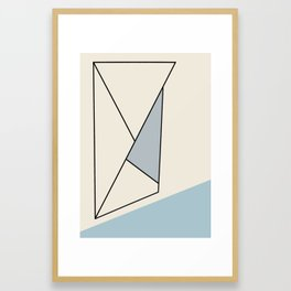 Abstract Black  Ink Lines on Creme and Blue Framed Art Print