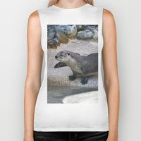 otter Biker Tanks featuring Otter by Phil Hinkle Designs