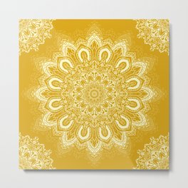 Boho Mustard Yellow Mandala Flower Metal Print