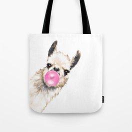 Bubble Gum Sneaky Llama Tote Bag