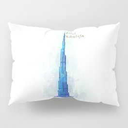 Burj Khalifa, Dubai, Emirates in WaterColor art Pillow Sham