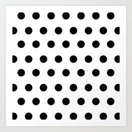 Polka Dots Black and White Art Print