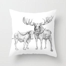 Longhorn and Moose Throw Pillow