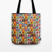kandinsky Tote Bags featuring Farbstudie Quardrate by Wassily Kandinsky by designforme
