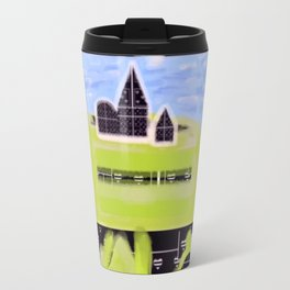 Black and White Hearts on a Hill Travel Mug