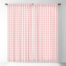 Mini Lush Blush Pink and White Gingham Check Plaid Blackout Curtain