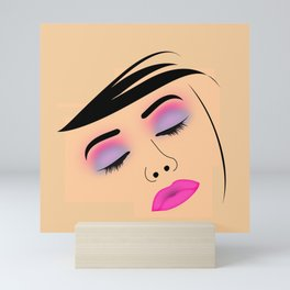 Portrait of beautiful woman with fresh make up Mini Art Print
