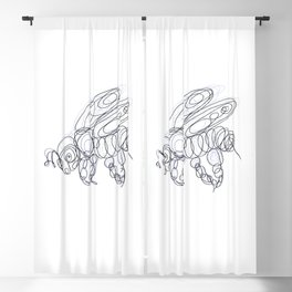 Honey Bee Line Drawing Blackout Curtain