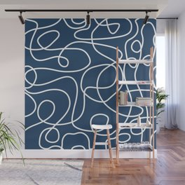 Doodle Line Art | White Lines on Petrol Blue Wall Mural