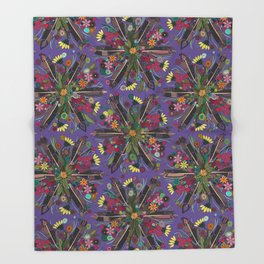 bohemian posy violet Throw Blanket