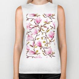 Pink Magnolia Spring Blossom Biker Tank