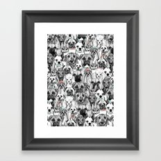 just dogs coral mint Framed Art Print
