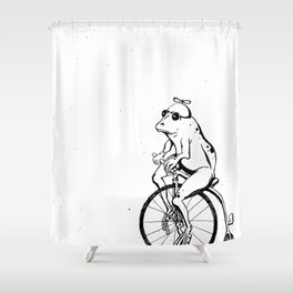 Ferdinand the Bike Riding Frog Shower Curtain