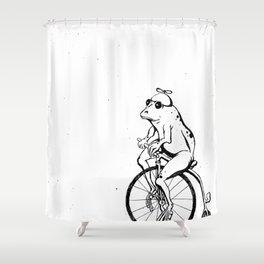 Ferdinand the Bike Riding Frog Shower Curtain