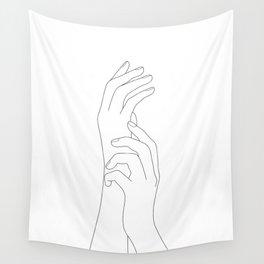 Minimal Line Art Feminine Hands Wall Tapestry