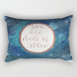 """""""Your are made of stars"""" watercolor galaxy painting with lettering Rectangular Pillow"""
