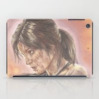 lara croft iPad Cases featuring Miss Croft by JadeJonesArt