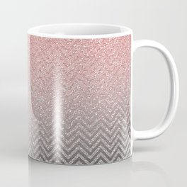 Blush chic pink  silver faux glitter geometrical Coffee Mug