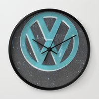 vw bus Wall Clocks featuring Black Beauty VW Bus by wildVWflower