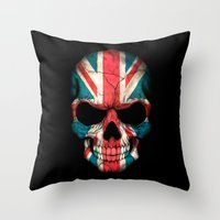 british flag Throw Pillows featuring British Flag Skull on Black by Jeff Bartels