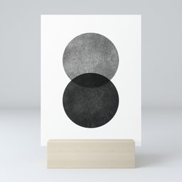 Black and grey circle Mini Art Print