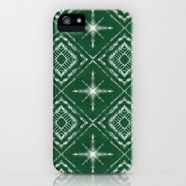 Shibori Style Star Pattern on Green iPhone Case