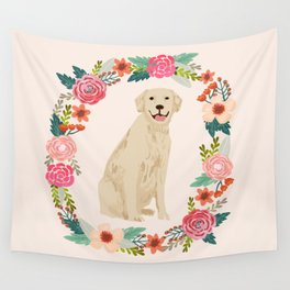 golden retriever dog floral wreath dog gifts pet portraits Wall Tapestry