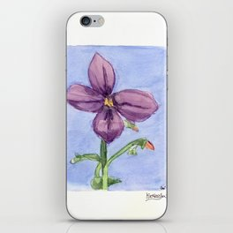 Purple Lllly Water Color Flower iPhone Skin