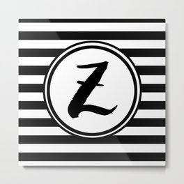 Z Striped Monogram Letter Metal Print