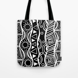 Four Waves - Freestyle Tribal Doodle Design - Black Tote Bag