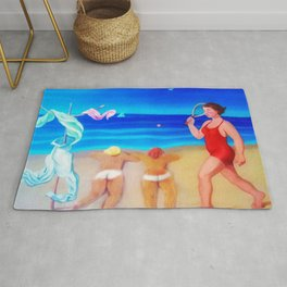 """Beach """"Bums"""" of the American Riviera landscape painting by M. Mello Rug"""